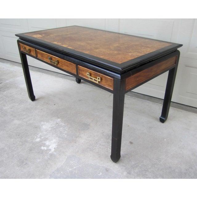 1970s Raymond Sobota Century Furniture Burl Wood Black Lacquer Writing Desk For Sale - Image 5 of 12