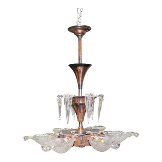1930s Ezan French Art Deco Glass and Copper Chandelier For Sale