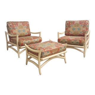 Vintage 1960 Chairs and Ottoman Bamboo Set- 3 Pieces For Sale