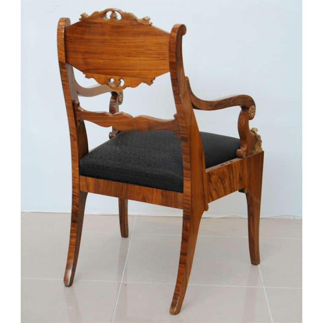 Pair of Russian Neoclassic Circassian Walnut and Parcel-Gilt Chairs For Sale In Miami - Image 6 of 9