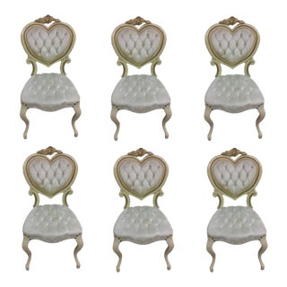 Tufted Hollywood Regency Heart Dining Chairs by Kimball - Set of 6 For Sale