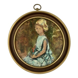 Vintage Mid-Century Young Girl Signed Round Portrait Painting For Sale
