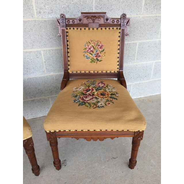 Pair of Victorian Eastlake Needle Point His & Hers Accent Chairs For Sale - Image 4 of 11