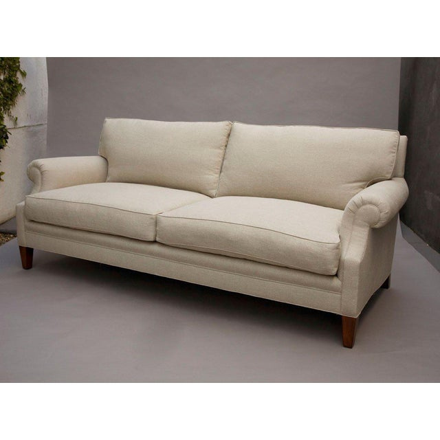 """Elton"" by Lee Stanton Upholstered Sofa in Belgium Linen or Custom Fabric For Sale - Image 10 of 11"