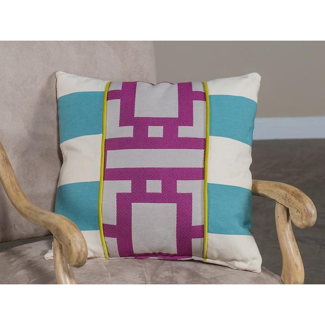 Modern Cotton Blend Pillow with Robin Blue and Orchid Purple Geometric Lines For Sale - Image 3 of 6