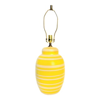 Mid-Century Modern Yellow Ceramic Pottery Table Lamp