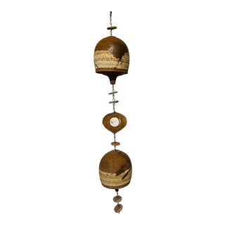 Modernist Brutalist Ceramic Bell Wind Chime - Paolo Soleri Style For Sale