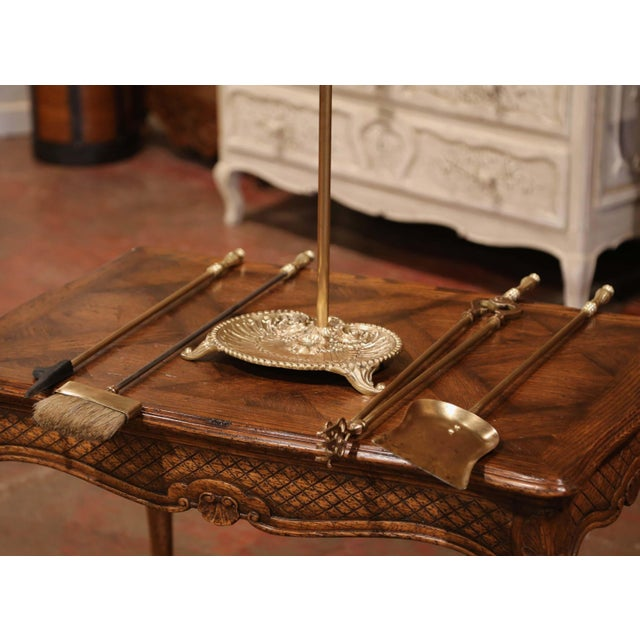Gold 19th Century French Louis XV Bronze Fireplace Tool Set on Stand For Sale - Image 8 of 10