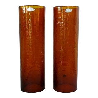 Blenko Glass Hurricanes, a Pair For Sale