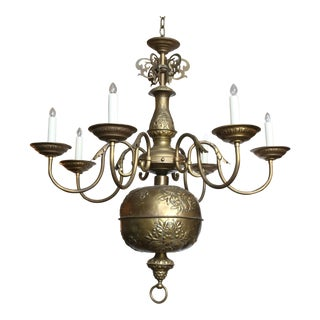 Very Rare Brass Repousse Georgian Chandelier For Sale