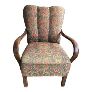 Mid-Century Channel Back Arm Chair For Sale