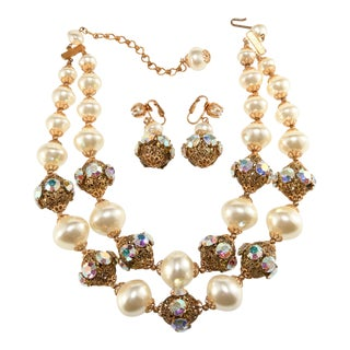 1960s Faux Pearls Iridescent Rhinestones Necklace & Earrings Set For Sale