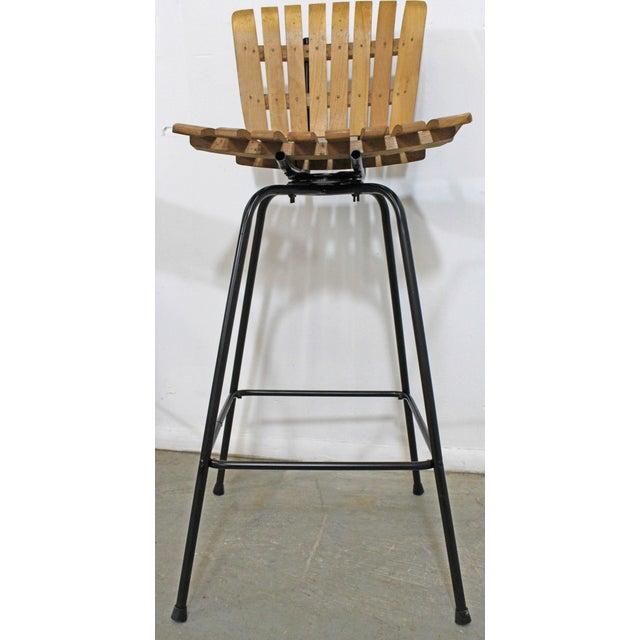 Mid 20th Century Set of 3 Mid-Century Danish Modern Arthur Umanoff Swivel Slat Bar Stools For Sale - Image 5 of 11
