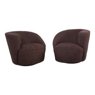 1980s Vintage Kagan Style Modernist Nautilus Swivel Chairs- a Pair For Sale