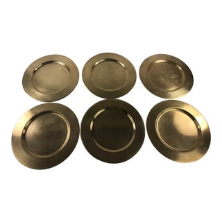 1970s Modern Brass Charger Plates - Set of 6 For Sale