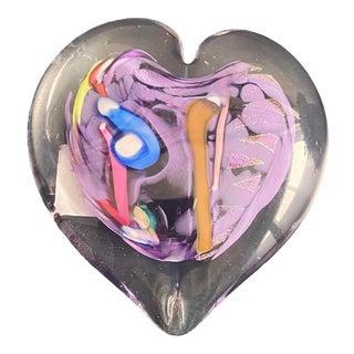 1980s Glass Art Heart For Sale