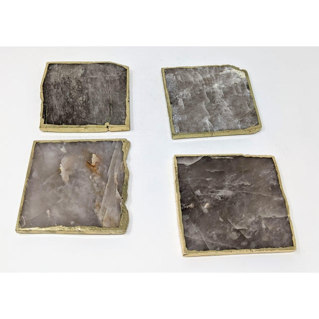 Organic Modern Smoke Gray Agate Coasters With Gold Metal Edge - Set of Four (4) For Sale In Providence - Image 6 of 12