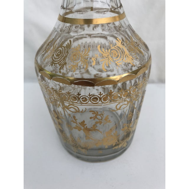 1910s Art Nouveau Gilt Decorated Small Carafe & Glass - 2 Pieces For Sale - Image 4 of 7