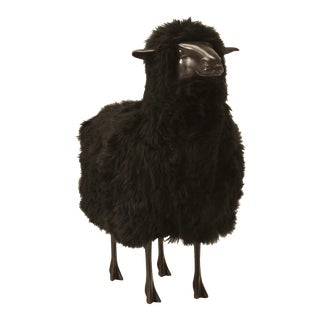 Bronze Black Sheep With Real Fur For Sale