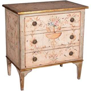 Vintage Italian Hand-painted Three Drawer Chest For Sale
