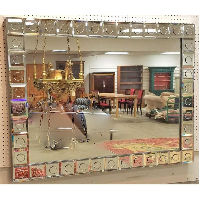 Modern Applied Circle Mirrored Frame Wall Mirror For Sale - Image 9 of 9