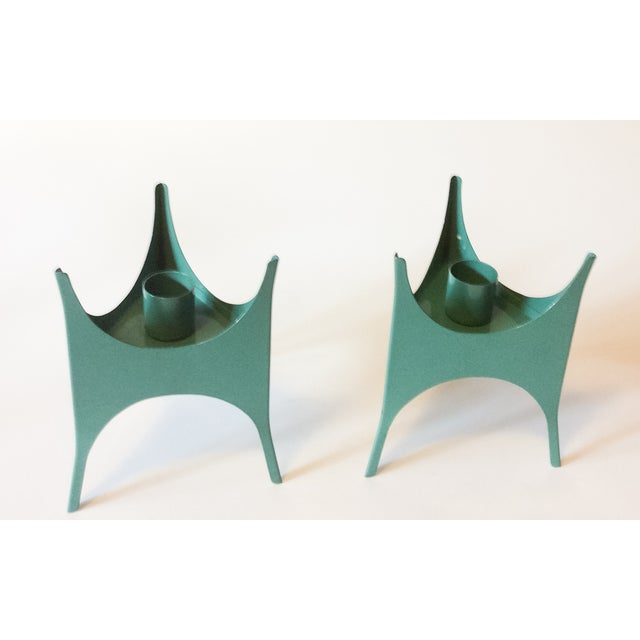 MCM Teal Metal Candlesticks - A Pair - Image 4 of 5