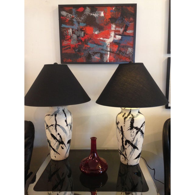 Ceramic Vintage Jackson Pollock Style Splatter Glaze Lamps - a Pair For Sale - Image 7 of 8