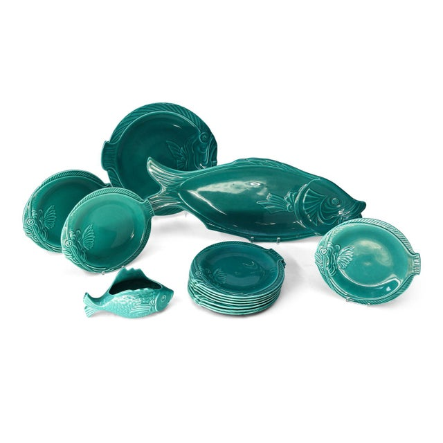 Set of Teal Fish-Shape Ceramic Dishes For Sale - Image 11 of 11