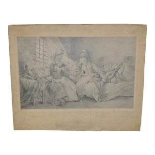 Antique Drawing of Two Young Women Reading For Sale