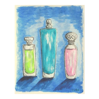 Still Life Perfume Bottles Painting by Cleo For Sale