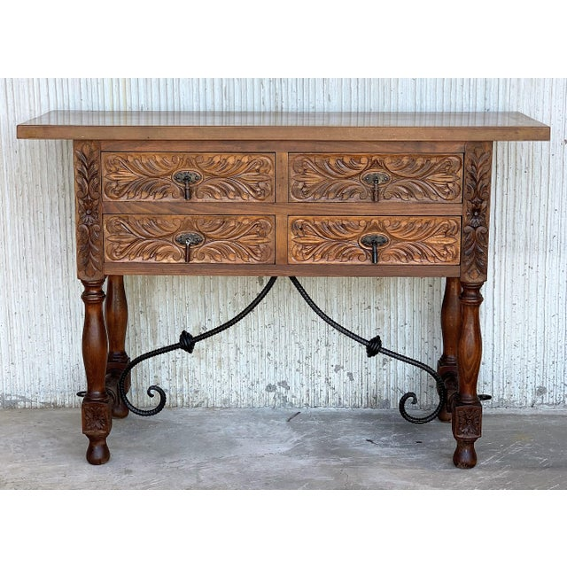Baroque 20th Spanish Carved Walnut Console Sofa Table, Four Drawers and Iron Stretcher For Sale - Image 3 of 6
