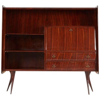 1950s Vintage Vittorio Dassi Italian Lacquered Rosewood Sideboard For Sale