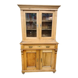 1880's Honey Pine Kitchen Cabinet For Sale