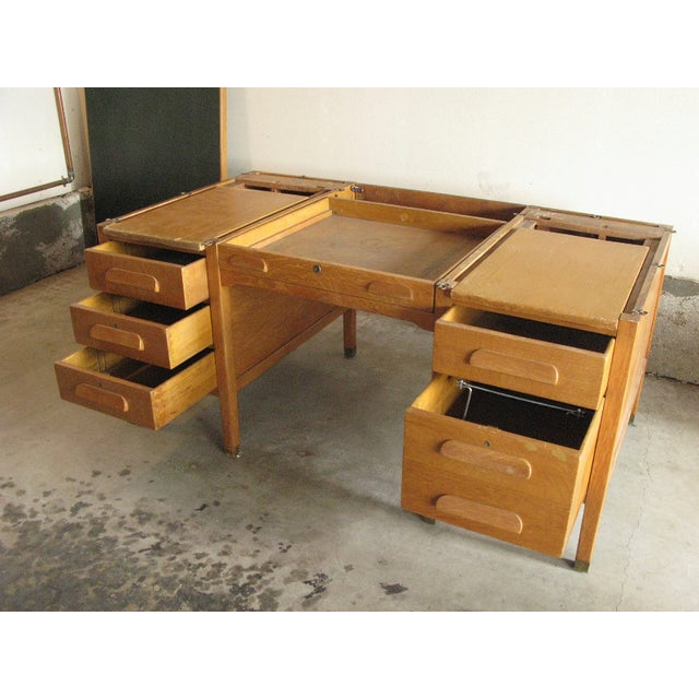 Large Oak Desk With Dark Green Leather Top - Image 3 of 6