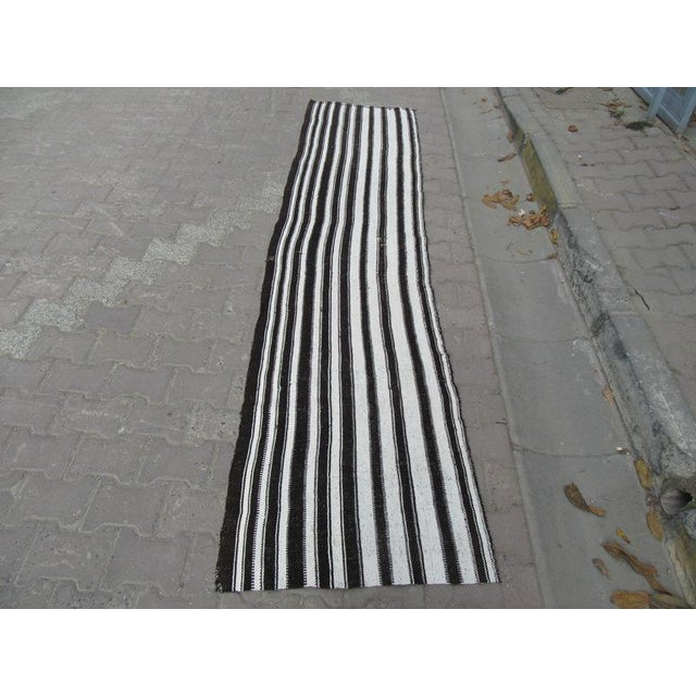 "Vertical Black White Striped Kilim Runner Rug - 2'3"" x 9'10"" For Sale In Los Angeles - Image 6 of 6"