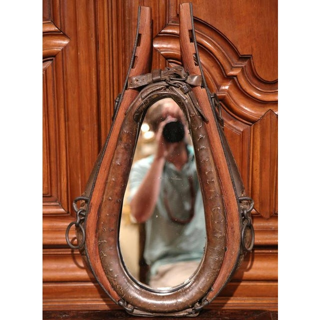 Cabin 19th Century French Leather Horse Collar Made Into Mirror For Sale - Image 3 of 5