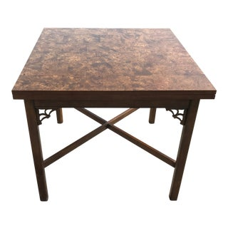 1960s Chinese Patchwork Burl Wood Flip Top Dining Table For Sale