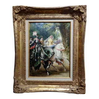 "Salmon G. ""Knight in Armor and Princes on Horse"" Oil Painting, 19th Century For Sale"