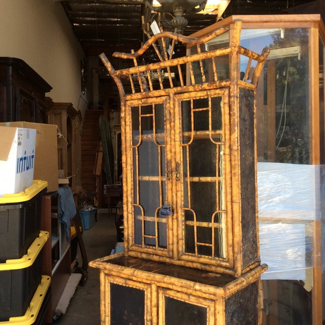 Boho Chic Antique Bamboo Cabinet For Sale - Image 3 of 11