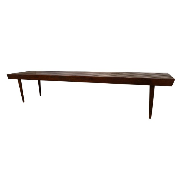 Mid-Century Modern Extra Long Mid Century Slatted Wood Bench Coffee Table George Nelson Style For Sale - Image 3 of 12
