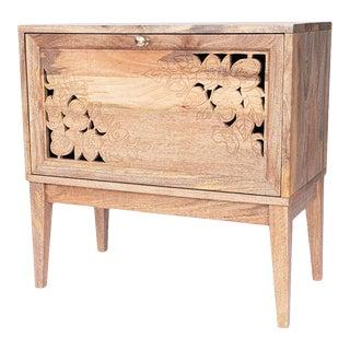 Anaya Hand Carved Floral Wood Cabinet For Sale