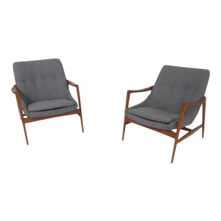 Gray Chenille Mid-Century Lounge Chairs - a Pair For Sale
