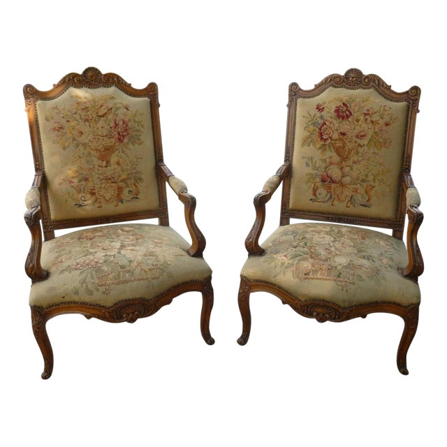 20th Century French Petit Point Needlepoint Seat Bergere Chairs - a Pair For Sale
