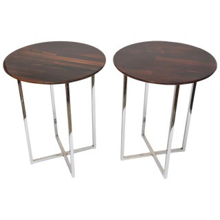 1970s Mid-Century Modern Milo Baughman Chrome and Rosewood Side Tables - a Pair For Sale