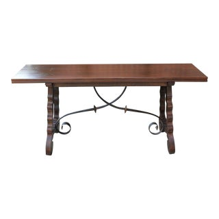 20th Century Mission Walnut Catalan Dining/Sofa Table For Sale