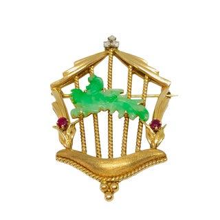 14k Gold Jadeite, Diamond & Ruby Birdcage Brooch For Sale