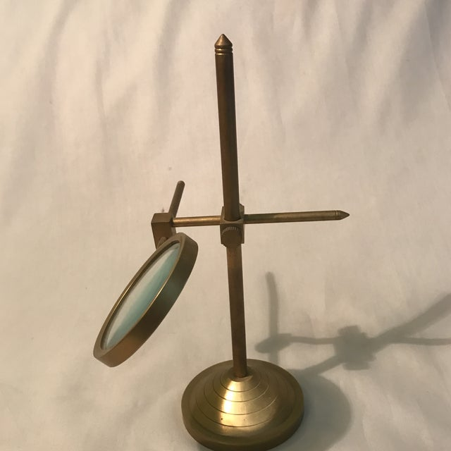 Vintage Magnifying Glass With Adjustable Brass Stand For Sale - Image 5 of 11