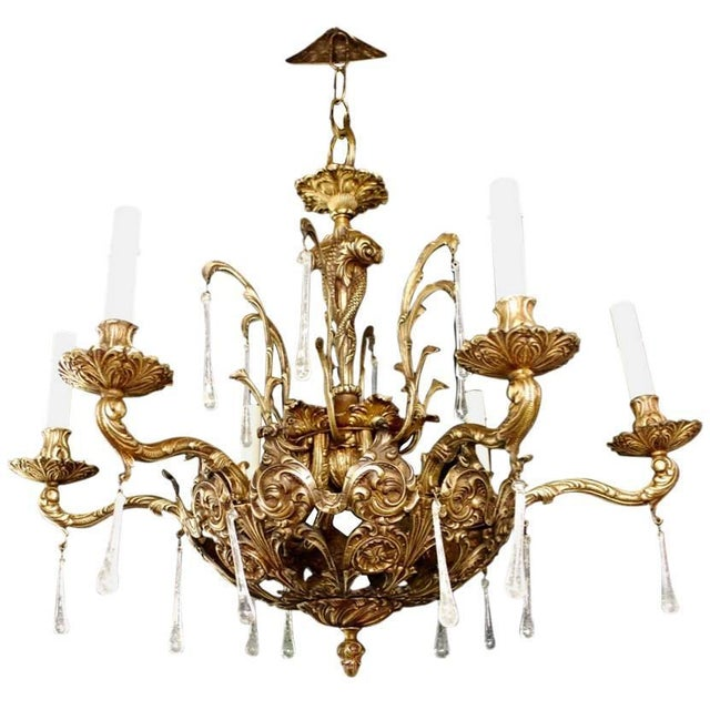 Mid-Century Modern 1940s Solid Bronze Chandelier With Fishes in the Center For Sale - Image 3 of 3