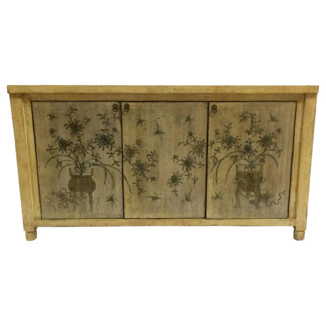 1970s Asian Style Credenza With Floral Motif Hand-Painted Door Panels For Sale