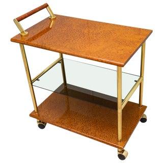 Karelian Birchwood and Gold Plate Bar Cart For Sale